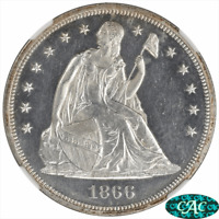 1866 SEATED LIBERTY DOLLAR PROOF NGC AND CAC PR62 CAMEO WITH MOTTO VARIETY