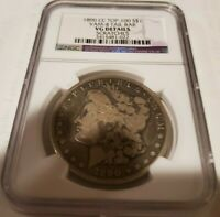1890 CC TOP-100 SILVER $1 NGC VAM-4 TAIL BAR VG DETAILS SCRATCHES