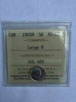 CANADA 1902H LARGE H VICTORIA SILVER 5 FIVE CENT 5C NICKEL I
