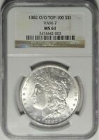 1882-O/O VAM-7 $1 NGC MINT STATE 61 UNCIRCULATED NEW ORLEANS MORGAN SILVER DOLLAR COIN