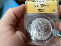 1889 MORGAN ANACS GRADED AU 58 DETAILS CLEANED VAM 5 NO RESE