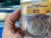 1921 D ANACS GRADED AU 53 DETAILS WIRE BRUSHED VAM 1AE2 NO R