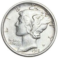 1918 D MERCURY SILVER DIME BEAUTIFUL FEATURES EARLY DATE 10C
