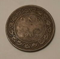 1903 CANADA LARGE ONE CENT COIN  95  COPPER    KING EDWARD V