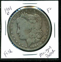 1901 O F MORGAN DOLLAR  FINE 90SILVER COIN U.S  OLD $1 AUCTION WC1493