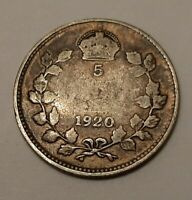 1920 CANADA 5 CENTS COIN  80  SILVER    KING GEORGE V