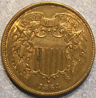 1864 2C TWO CENT PIECE LARGE MOTTO EXTRA NICE