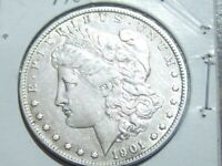 1901-0 MORGAN SILVER DOLLAR WITH ERROR DIE BREAK AND DIE CRACK REVERSE VF/EXTRA FINE
