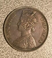 1883 INDIA BRITISH RUPEE LARGE SILVER COIN