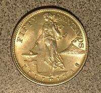 1944 S PHILIPPINES FIFTY CENTAVOS NICE HIGH GRADE COIN