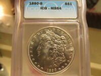 ICG MINT STATE 64 1890-S MORGAN  LOOKS LIKE IT SHOULD BE IN A 65 HOLDER  CAAJ