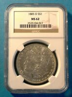 1885-O  NGC MINT STATE 62  MORGAN SILVER DOLLAR