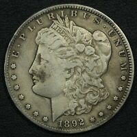 1892 CC CARSON CITY MORGAN SILVER DOLLAR - CLEANED