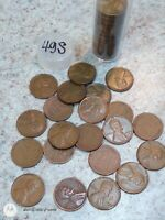 1949 S  LINCOLN WHEAT CENT  ROLL  50 PENNIES  GOOD - BETTER  WITH STORAGE TUBE