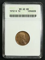 1912 S LINCOLN WHEAT COPPER CENT ANACS MINT STATE 62 RB