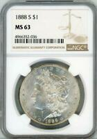 1888 S $1 MORGAN SILVER DOLLAR NGC MINT STATE 63