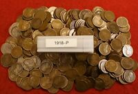 1918-P LINCOLN WHEAT CENT PENNY 50 COIN ROLL GREAT COLLECTOR COINS GIFT