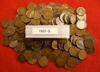 1937-S LINCOLN WHEAT CENT PENNY 50 COIN ROLL G-VF COLLECTOR COINS GIFT