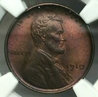 1910 LINCOLN WHEAT CENT - NGC CERTIFIED - MINT STATE 66 RB - AN AMAZING COIN