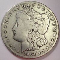 1904-S MORGAN SILVER DOLLAR - LY CIRCULATED WITH VG/F DETAILS - TOUGH DATE