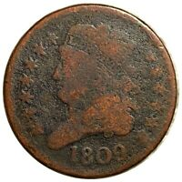 1809 CLASSIC HEAD HALF CENT HARD TO FIND HIGH END 1/2C COPPE