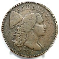 1794 S-52 R-6- PCGS F DETAILS HEAD OF 94 LIBERTY CAP LARGE CENT COIN 1C