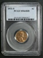 1931 S LINCOLN WHEAT COPPER CENT PCGS MINT STATE 64 RB
