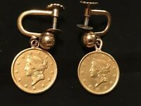 FINE ESTATE 1850 & 1851 ONE 1$ GOLD COIN EARRINGS WITH 12K G