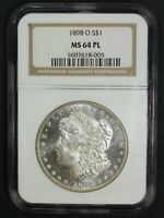 1898 O PROOF LIKE MORGAN SILVER DOLLAR NGC MINT STATE 64 PL