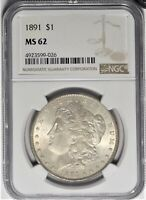 1891 $1 NGC MINT STATE 62 CHOICE UNCIRCULATED UNC MORGAN SILVER DOLLAR TYPE COIN 2