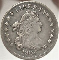 1805 DRAPED BUST DIME CHOICE  FINE 4 BERRIES EARLY 10C TYPE COIN