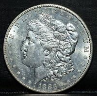1883-S MORGAN SILVER DOLLAR  CH-AU  $1 CHOICE ALMOST UNC  NOW TRUSTED