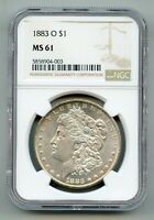 1883 O MORGAN SILVER DOLLAR NGC MINT STATE 61