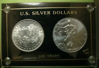 US SILVER DOLLARS - 100 YEARS 1896 & 1996 IN NEW  BLACK CAPITAL COIN HOLDER
