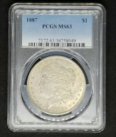 1887 MORGAN SILVER DOLLAR PCGS GRADED MINT STATE 63 - SHARP COIN. PCGS PRICE $70.00