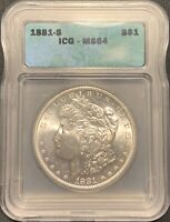 1881-S $1 MORGAN SILVER DOLLAR ICG MINT STATE 64 -  COIN