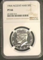 PROOF 1964-P KENNEDY HALF DOLLAR - NGC PF66 - ACCENTED HAIR - 26296