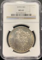 1878-S $1 MORGAN SILVER DOLLAR NGC MINT STATE 63