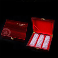 2PCS SUPERB WOOD COIN BOX 30 GRIDS CASE CONTAINER FOR 30 MEDALS COLLECTION