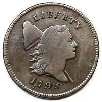 1795 C-2A R-3 LETTERED EDGE PUNCTUATED DATE LIBERTY CAP HALF CENT COIN 1/2C