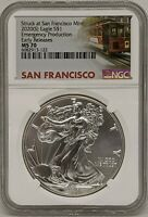 2020 S SILVER AMERICAN EAGLE NGC MS70 EMERGENCY PRODUCTION EARLY RELEASES