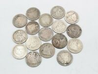 LOT OF 17 SILVER LIBERTY SEATED US 25C QUARTERS 1846 1853 18