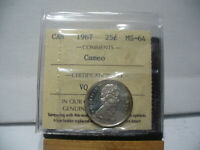 1967  CANADA  SILVER  QUARTER 25 CENT DOLLAR  COIN   I.C.C.S. GRADED MS 64