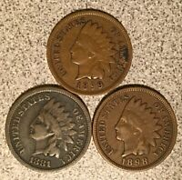 1881 1898 1899 INDIAN HEAD CENT LOT