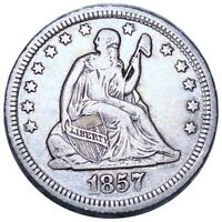 1857 SEATED LIBERTY SILVER QUARTER EXCELLENT STRUCTURE 25C P