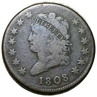 1808 CLASSIC HEAD LARGE CENT EXCELLENT STRUCTURE 1C COPPER COLLECTIBLE NO RES