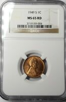 1949-S LINCOLN CENT MINT STATE 65 RED