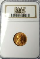 1942 D 1C LINCOLN WHEAT CENT NGC MINT STATE 65 RD