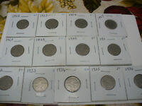 LOT OF 13  1922 1936 CANADA    NICKEL 5 CENTS  COIN  GOOD GRADE  NO 1925 OR 1926