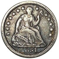 1851 O SEATED LIBERTY HALF DIME STRONG DEFINING DETAIL 5C NEW ORLEANS MINT NR